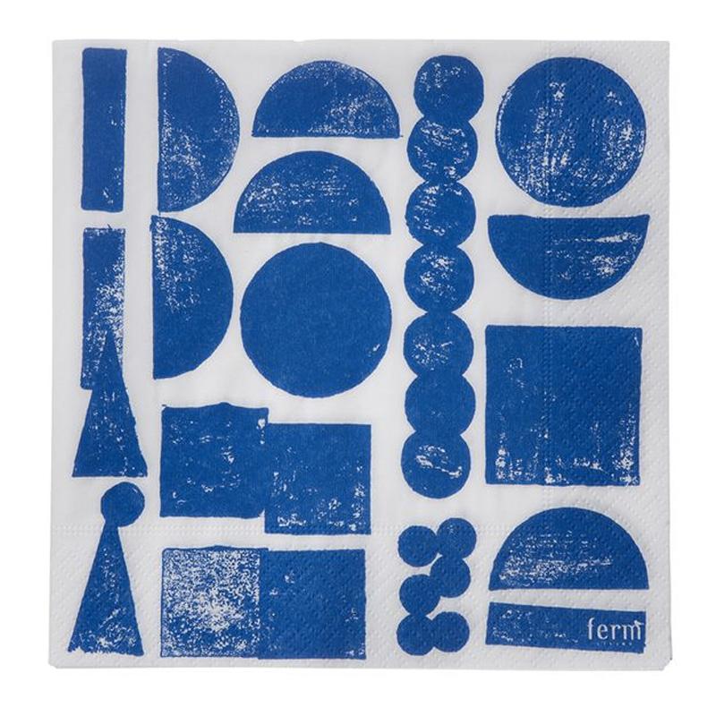 serviettes de table ferm living bleu roi ponio