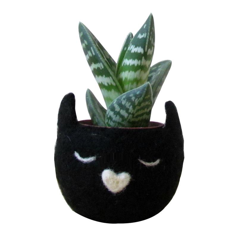 Cache-pot Chat, The Yarn Kitchen — Noir Réglisse