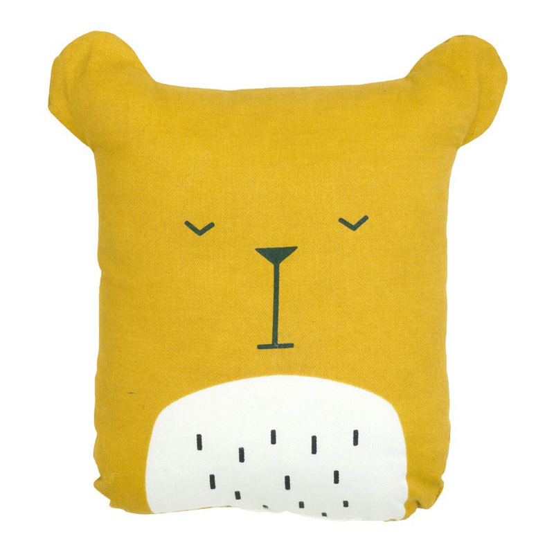 Coussin Ours, Fabelab — Jaune Moutarde