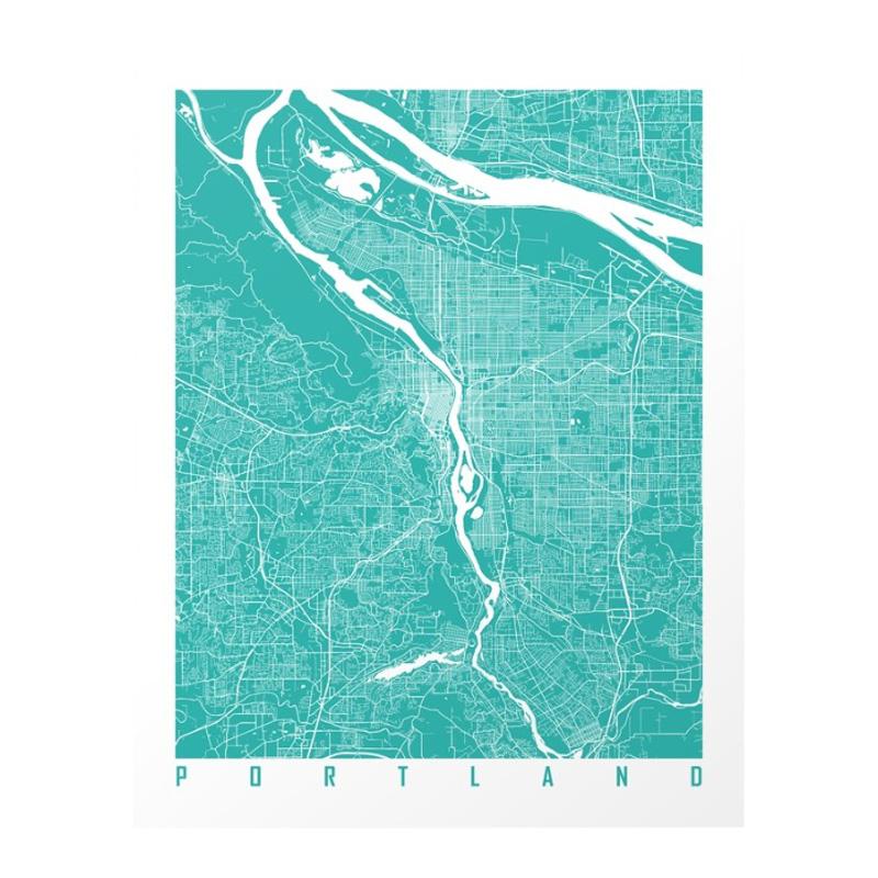 Affiche Carte Portland, Maps Art — Bleu Turquoise, Ponio