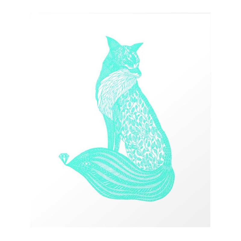 Affiche Renard, Volpine — Bleu Turquoise, Ponio
