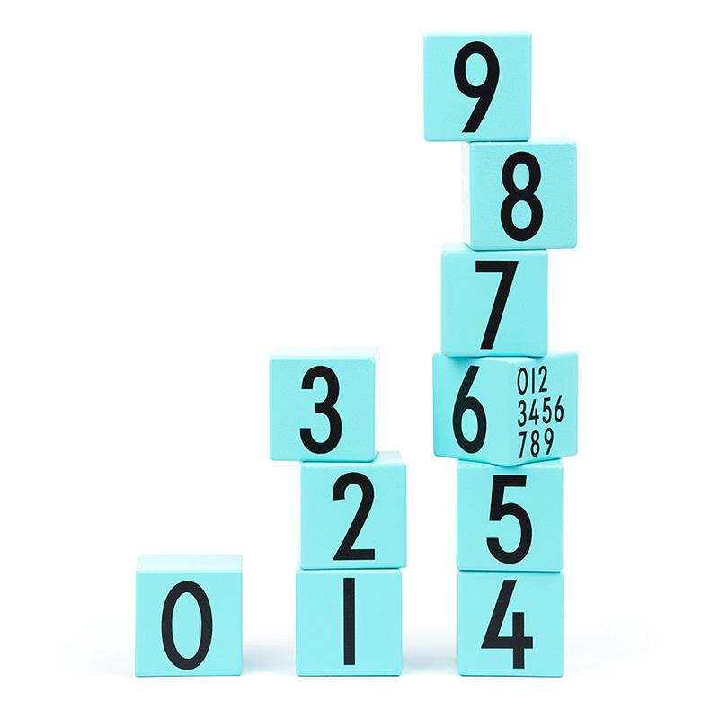 Cubes numérotés, Design Letters — Bleu Turquoise, Ponio